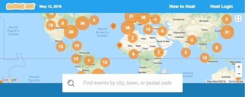 Screenshot of map showing Scratch Day events.