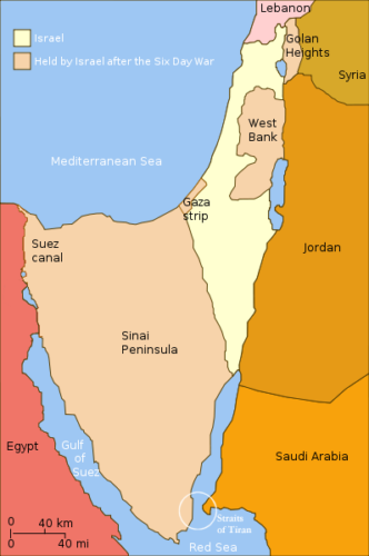 Map showing Israel's land before and after the war in 1967.