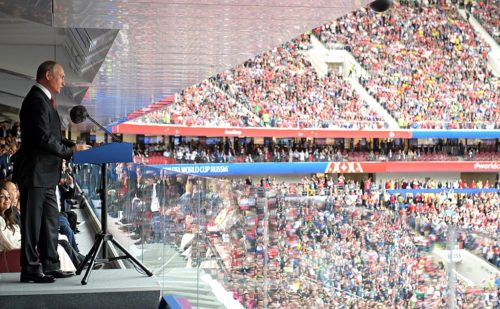 Russian president Vladimir Putin speaking at the 2018 FIFA World Cup opening event.