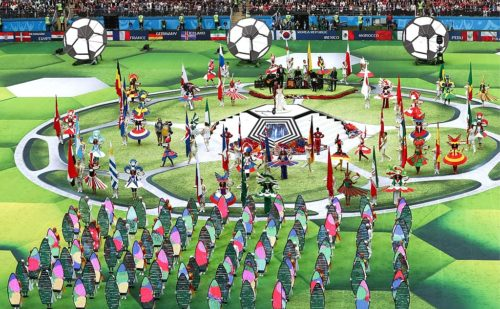 Part of the show at the 2018 FIFA World Cup opening event.