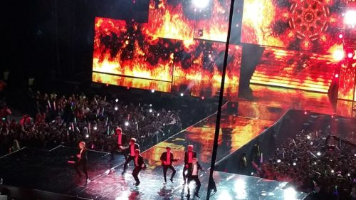 "BTS performing ""Fire"" in Mexico."