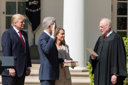 Justice Kennedy swearing in Justice Gorsuch