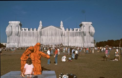 In 1995, Christo and Jeanne-Claude covered the Reichstag in Berlin, Germany with cloth.