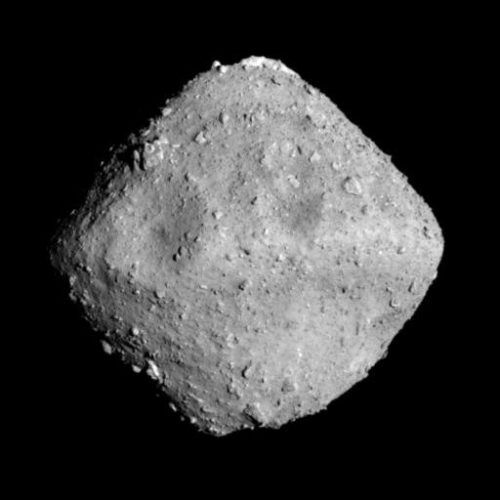 Ryugu looks a little like a bead in the shape of a diamond.