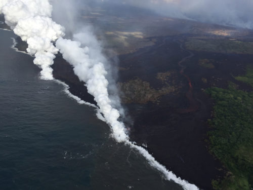 """When the lava touches the sea water, it creates a white cloud called """"laze""""."""