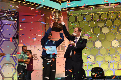 "Karthik Nemmani won the Scripps National Spelling Bee by spelling ""koinonia""."