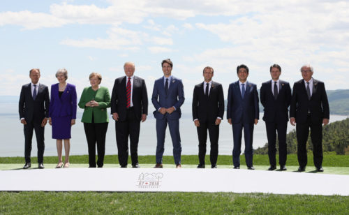 Leaders of seven countries plus the European Union at the G7 meeting in Canada this weekend.