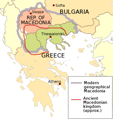 Simple map showing Greece, Macedonia, and ancient Macedonia.