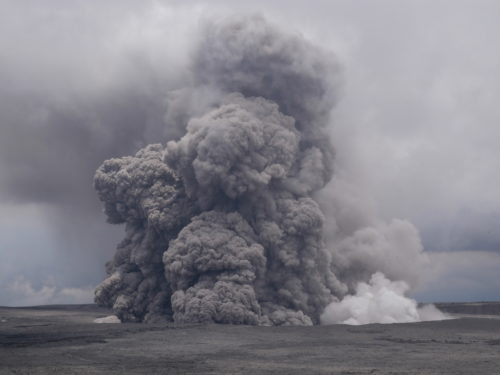The volcano has sent huge clouds of volcanic ash over 10,000 feet (3,000 meters) in the air.
