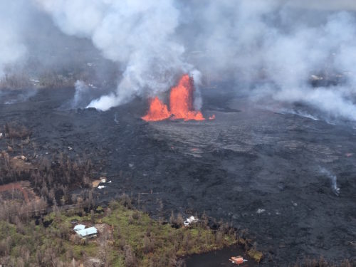 Lava fountains have shot as high as 200 feet (60 meters) into the air.