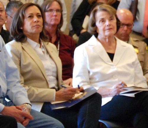 California's US senators, Kamala Harris (left) and Diane Feinstein.