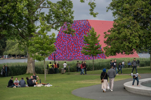 The London Mastaba is floating in Hyde Park in London.