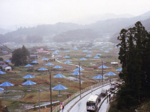 Christo and Jeanne-Claude put up over 3,000 umbrellas in Japan and California for their Umbrella project.