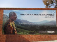 Banner for Nelson Mandela at the South African Apartheid Museum in Johannesburg, South Africa.