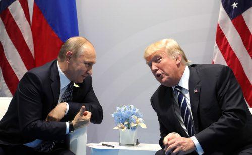 Mr. Trump talking with Russian President Vladimir Putin in 2017.