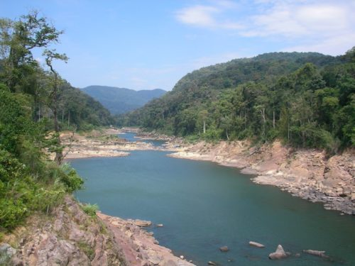 The water in this river in Laos was very low after a dam was built.