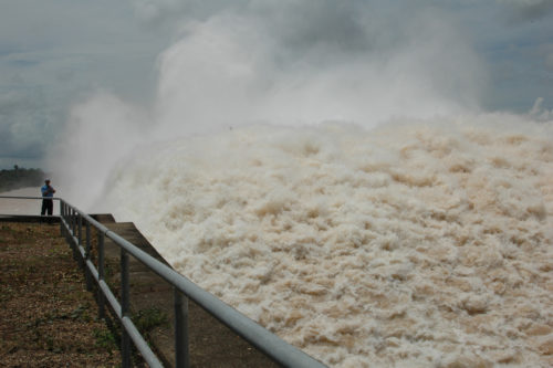 Floodwater at a dam in Laos.