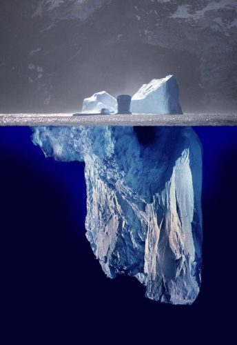 Picture constructed to show 10% of iceberg above water and 90% below.