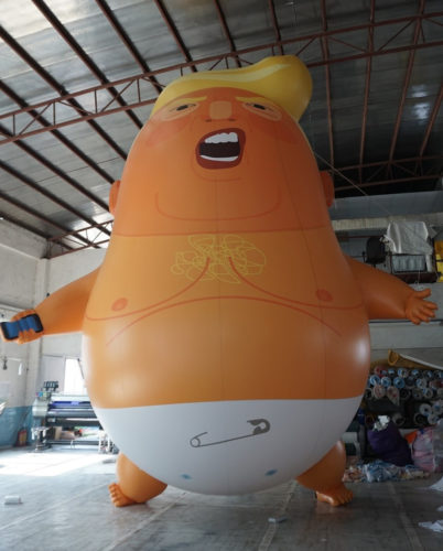 """Trump Baby"" blimp blown up."