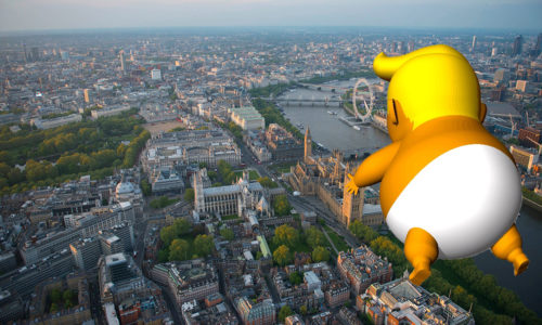 Artist's idea of what the blimp might look like floating over London.
