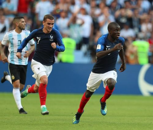 Antoine Griezmann (front left) led to two of France's goals yesterday.