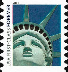 USPS stamp with picture of the Las Vegas Statue of Liberty