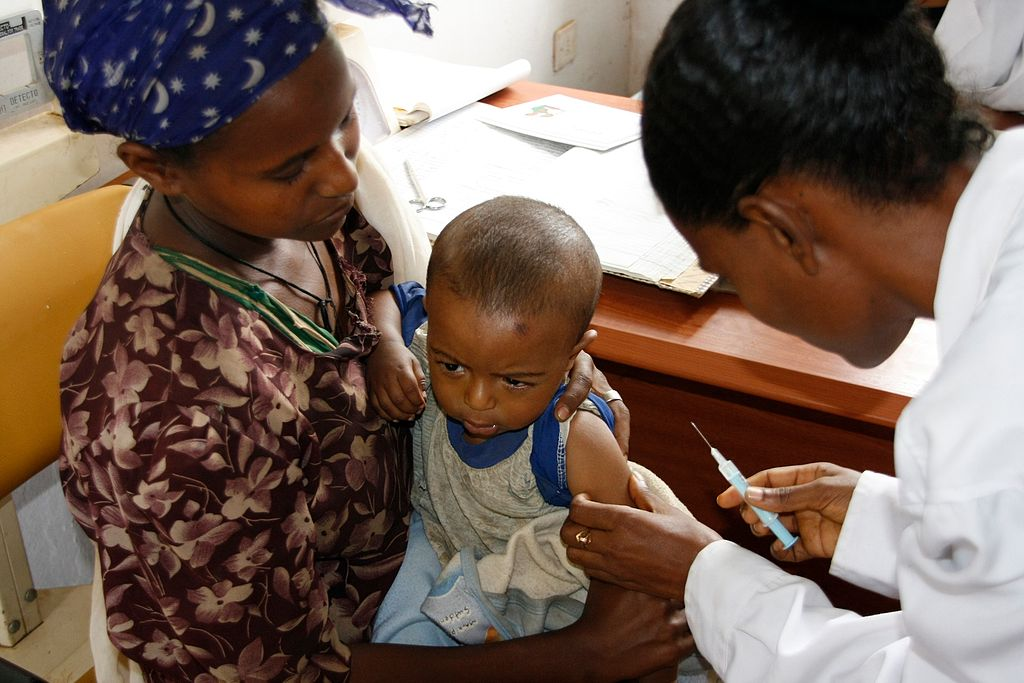 A child in Ethiopia gets a measles vaccine.