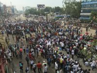 Road safety protestors blocking the streets in Bangladesh.