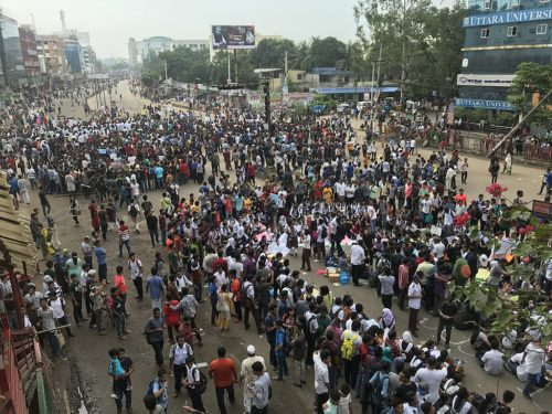 Road safety protestors blocking the streets in Bangladesh.