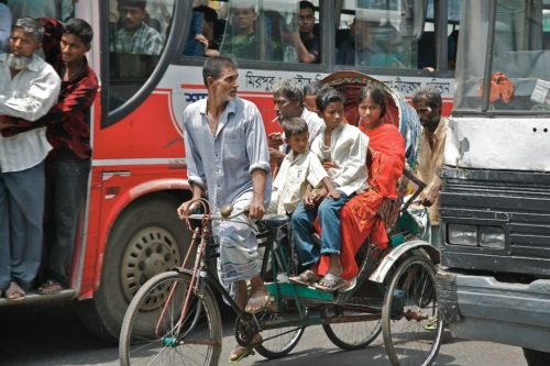 A rickshaw is a special kind of bike that can carry passengers.