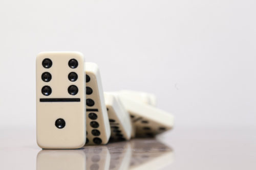 A domino chain reaction