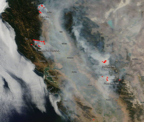 The smoke from the wildfires can be easily seen from space.