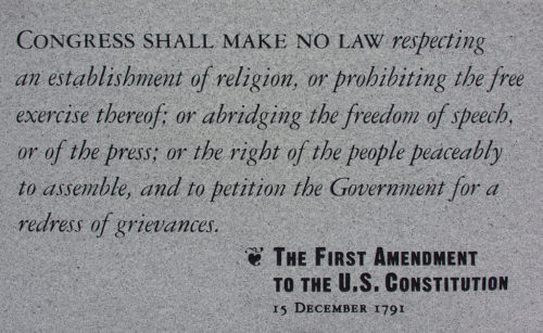 The First Amendment to The U.S. Constitution Monument in Independence National Historic Park in Philadelphia, Pennsylvania