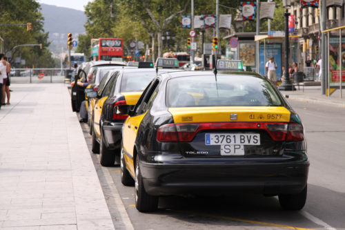 Line of taxis in Barcelona