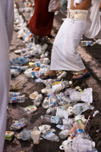 Garbage left after the hajj.