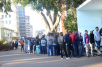 Line of voters in Zimbabwe's 2018 election.