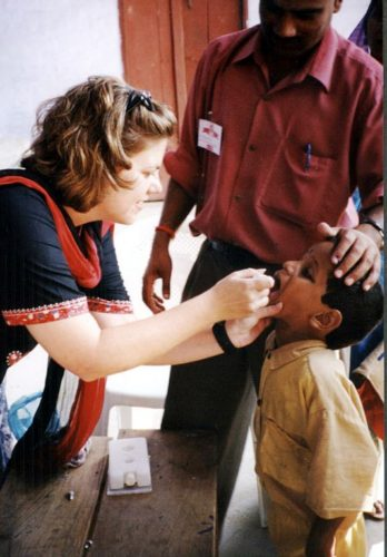 Child getting an oral polio vaccine in India.