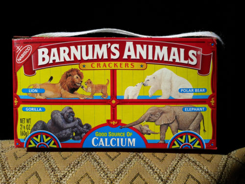 Classic Barnum's Animals crackers package with animals shown in cages.