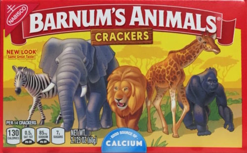 Barnum's Animals crackers box showing freed animals.