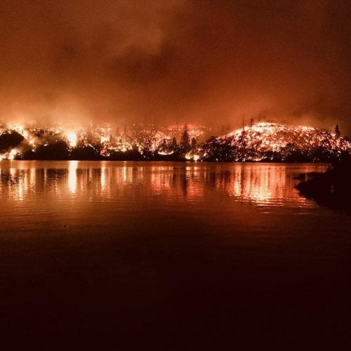 Carr Fire burning at night