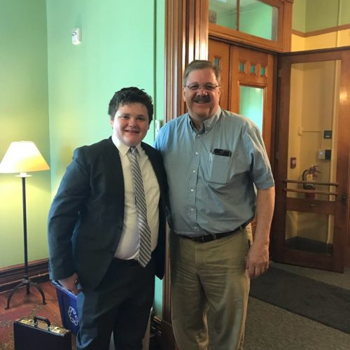 Ethan Sonneborn with Vermont Secretary of State, Jim Condos.