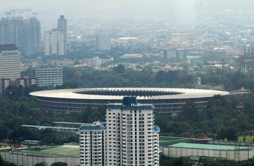 The round building is Gelora Bung Karno Stadium.