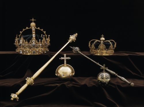 Case showing royal crowns,orbs, and scepters.