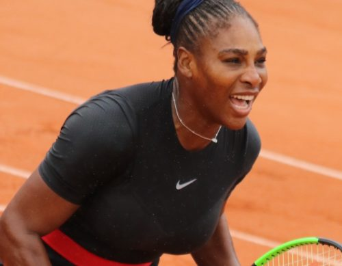 "Serena Williams in her ""catsuit"" at the French Open in June."