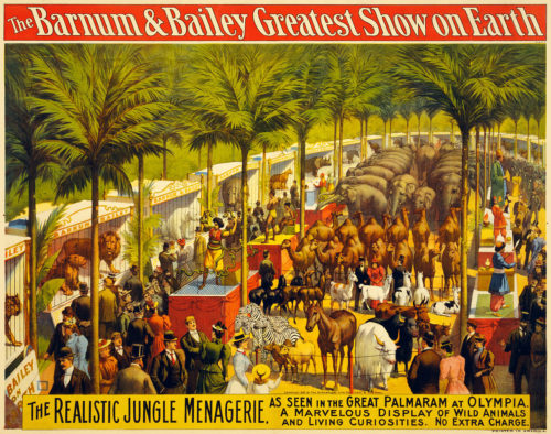 Poster for Barnum and Bailey's circus.