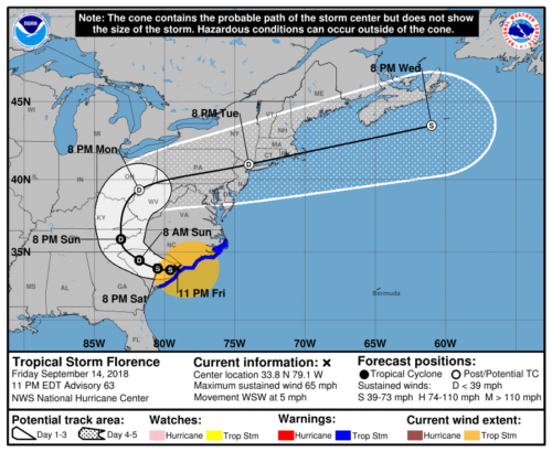 Map showing predicted path for Hurricane Florence.