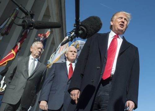 President Trump, Defense Secretary Mattis, and Vice President Pence