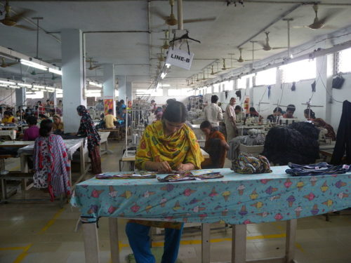 A clothing textile garment factory / assembly line in Bangladesh