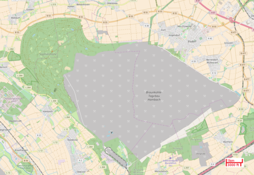 Map of Hambach Forest and Hambach surface mine, 2017.
