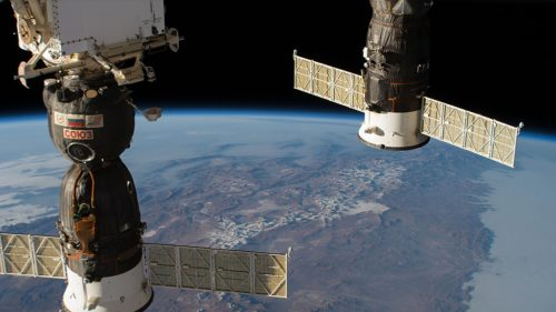 Two docked Russian spacecraft on the International Space Station